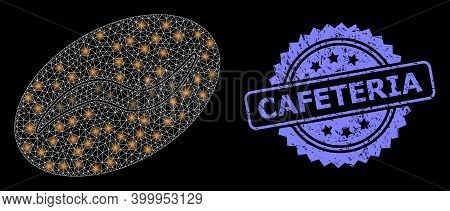 Glowing Mesh Network Coffee Bean With Light Spots, And Cafeteria Dirty Rosette Stamp. Illuminated Ve
