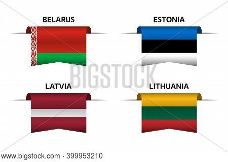 Set Of Four Belarussian, Estonian, Latvian And Lithuanian Ribbons. Made In Belarus, Made In Estonia,