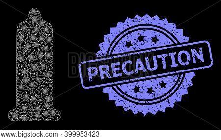 Shiny Mesh Network Condom With Light Spots, And Precaution Textured Rosette Seal Print. Illuminated