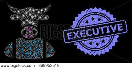 Glare Mesh Network Cow Boy With Light Spots, And Executive Rubber Rosette Seal Print. Illuminated Ve