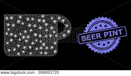 Bright Mesh Network Cup With Lightspots, And Beer Pint Textured Rosette Stamp Seal. Illuminated Vect