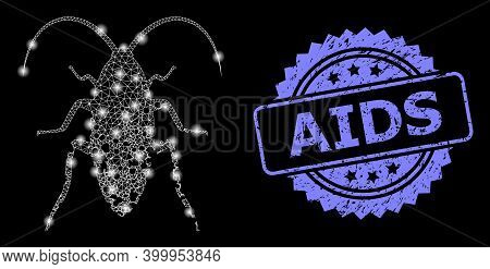 Glowing Mesh Net Damaged Cockroach With Glowing Spots, And Aids Grunge Rosette Stamp Seal. Illuminat