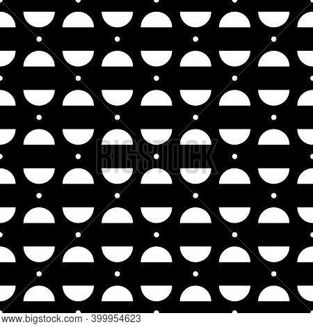 Mini Circles, Semicircles Seamless Ornament. Ethnic Pattern. Geometrical Background. Folk Wallpaper.