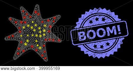 Glare Mesh Web Exploding Boom With Glowing Spots, And Boom Exclamation Unclean Rosette Seal Imitatio