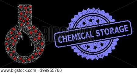 Glare Mesh Network Flammable Flask With Light Spots, And Chemical Storage Dirty Rosette Seal Imitati