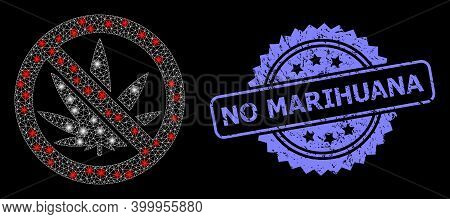 Glare Mesh Network Forbidden Cannabis With Lightspots, And No Marihuana Grunge Rosette Stamp Seal. I