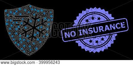 Glowing Mesh Web Frost Protection With Light Spots, And No Insurance Dirty Rosette Stamp Seal. Illum