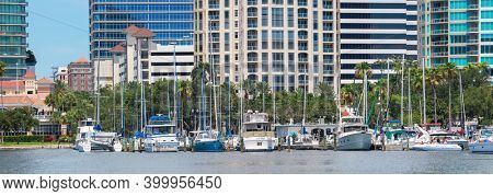 June 22. 2020. Panoramic view of the St. Petersburg municipal Marina  in Downtown St. Petersburg, Florida, USA.