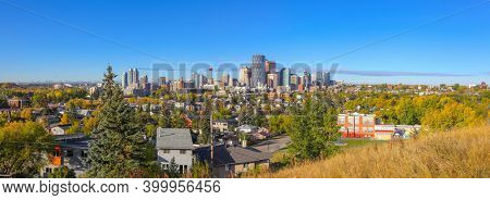 CALGARY, ALBERTA, CANADA - September 25 , 2017 - Panoramic view of Calgary metropolitan area, is the fourth-largest metropolitan area in Canada and second-largest in western Canada.