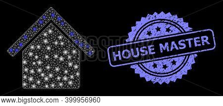 Glare Mesh Network House With Lightspots, And House Master Rubber Rosette Stamp Seal. Illuminated Ve