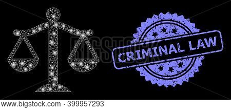 Shiny Mesh Web Judge With Glowing Spots, And Criminal Law Textured Rosette Stamp Seal. Illuminated V