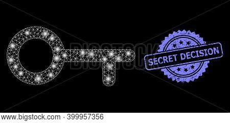 Bright Mesh Web Key With Lightspots, And Secret Decision Unclean Rosette Stamp. Illuminated Vector C