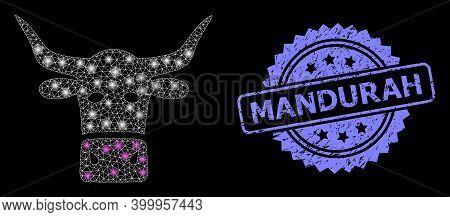 Glowing Mesh Network Livestock Head With Light Spots, And Mandurah Textured Rosette Stamp Seal. Illu