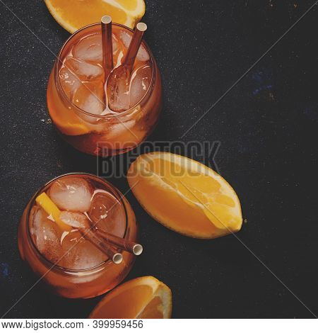 Italian Orange Cocktail With Aperitif, Ice, Sparkling Wine And Orange Slice, Top View And Toned Imag