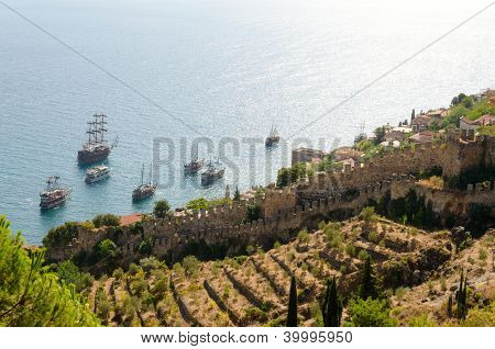 Ships at sea near the fortress