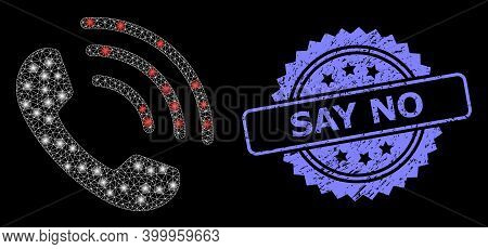 Glowing Mesh Net Phone Call With Glowing Spots, And Say No Grunge Rosette Seal. Illuminated Vector C