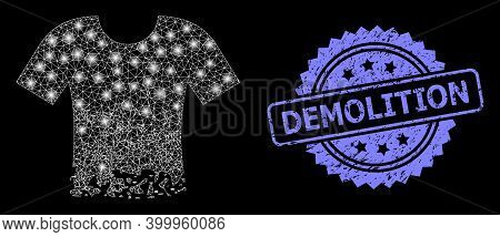 Glowing Mesh Net Ragged T-shirt With Glowing Spots, And Demolition Scratched Rosette Seal Imitation.