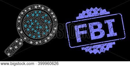 Glare Mesh Network Search Loupe With Light Spots, And Fbi Unclean Rosette Stamp. Illuminated Vector