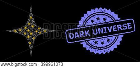 Glare Mesh Network Space Star With Glowing Spots, And Dark Universe Textured Rosette Stamp Seal. Ill