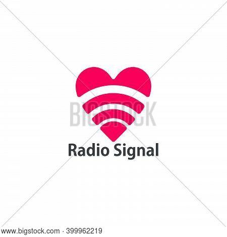 Radio Signal Geometric Love Shape Symbol Logo Vector