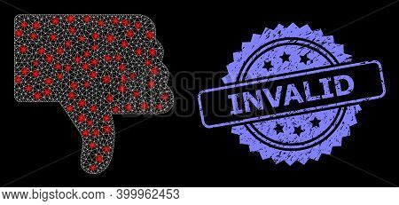 Glowing Mesh Web Thumb Down With Glowing Spots, And Invalid Grunge Rosette Seal. Illuminated Vector