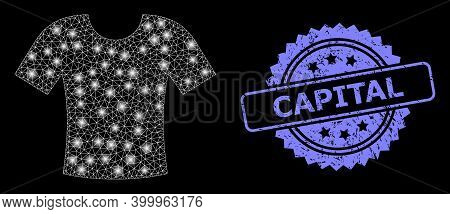 Shiny Mesh Network T-shirt With Lightspots, And Capital Rubber Rosette Stamp Seal. Illuminated Vecto