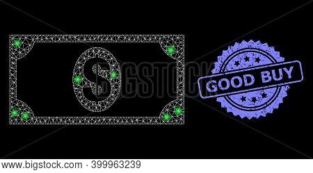 Glare Mesh Web Usd Banknote With Light Spots, And Good Buy Scratched Rosette Seal Imitation. Illumin