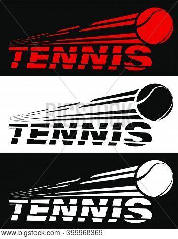 Tennis Lettering Broken By Flying Tennis Ball. Sport Equipment. Active Lifestyle. Vector