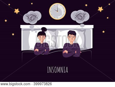 Sleepy character trying to fall asleep. Tired man suffer from sleeping disorder, insomnia, nightmare, sleeplessness.Tips and rule for bedtime sleep against insomnia