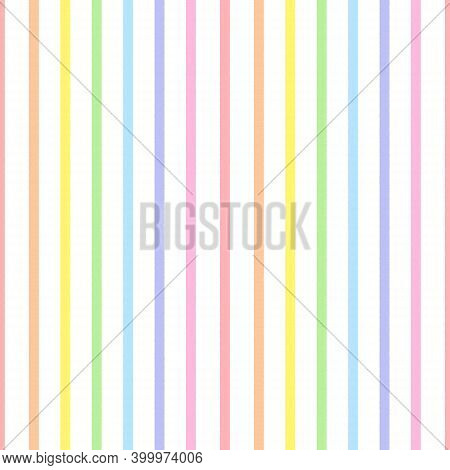 Rainbow Seamless Vertical Striped Pattern, Vector Illustration. Seamless Pattern With Rough Pastel C