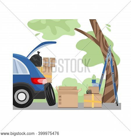 Luggage. Loading The Car. Unloading. Things Packed In Boxes Near The Car. Change Of Residence