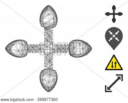 Vector Wire Frame 4 Direction Arrows. Geometric Wire Frame Flat Net Generated With 4 Direction Arrow
