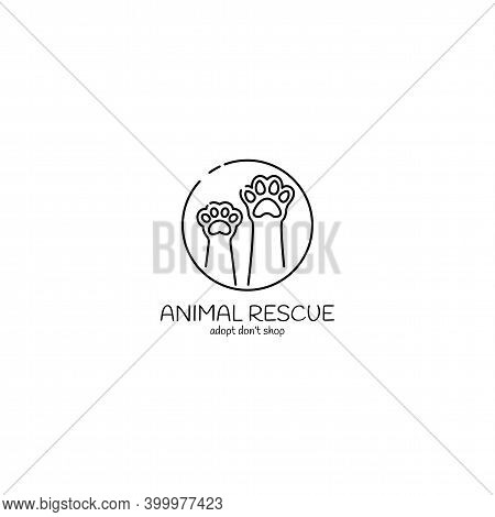 Animal Rescue Logo, Cat And Dog Paw, Minimalistic Symbol Design, Pet Shelter, Vector Illustration