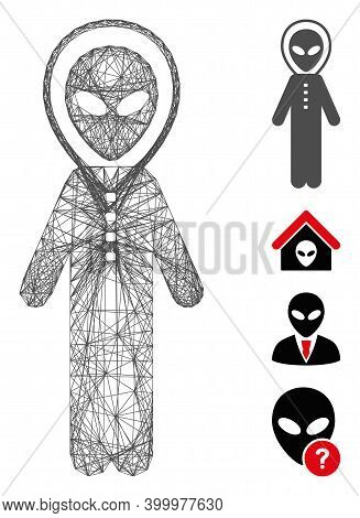 Vector Wire Frame Alien Space Armor. Geometric Hatched Frame Flat Network Made From Alien Space Armo