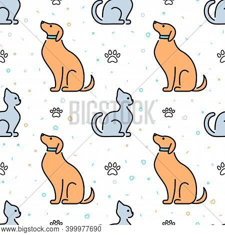 Seamless Pattern With Cute Cats And Dogs, Minimalistic Design. Pet Shelter, Veterinary Care. Texture