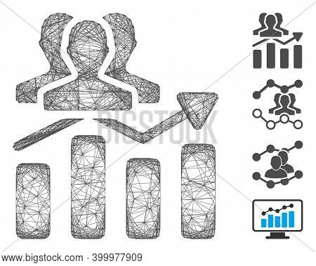 Vector Wire Frame Audience Chart Trend. Geometric Wire Frame 2d Network Made From Audience Chart Tre