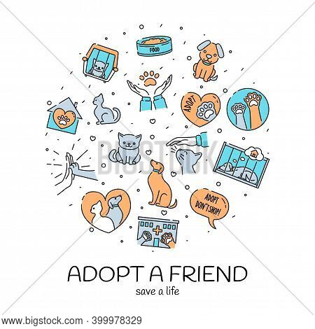 Adopt A Friend Motivational Poster, Minimalistic Design With Cute Pets, Cats And Dogs, Vector Illust