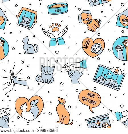 Seamless Pattern With Pet Care Symbols, Cute Cats And Dogs, Minimalistic Design. Animal Shelter, Vet