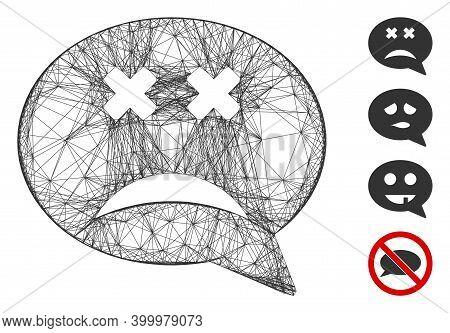 Vector Net Blind Smiley Message. Geometric Hatched Carcass 2d Net Made From Blind Smiley Message Ico