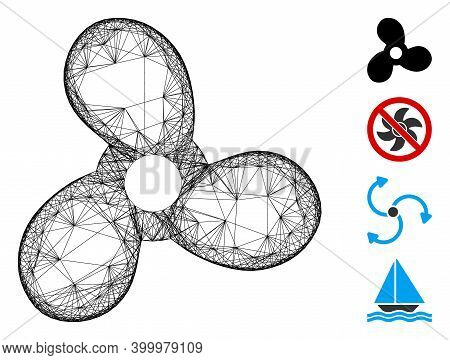 Vector Wire Frame Boat Propeller. Geometric Wire Carcass Flat Net Made From Boat Propeller Icon, Des