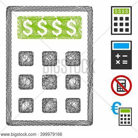 Vector Net Book-keeping Calculator. Geometric Linear Frame 2d Net Made From Book-keeping Calculator