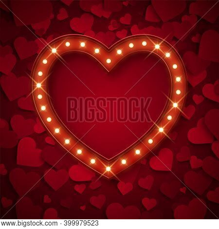 Retro Banner In Heart Shape With Shiny Lamps, Decorative Frame, Vector Illustration