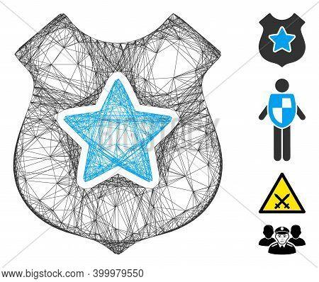 Vector Network Bulletproof Vest. Geometric Linear Frame Flat Network Made From Bulletproof Vest Icon