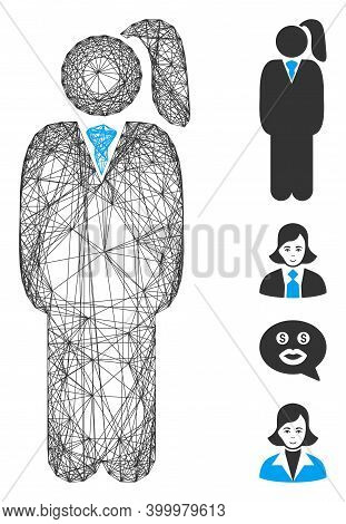 Vector Wire Frame Business Lady. Geometric Wire Frame 2d Network Made From Business Lady Icon, Desig