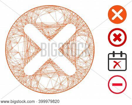 Vector Wire Frame Cancel. Geometric Linear Frame 2d Network Made From Cancel Icon, Designed From Cro
