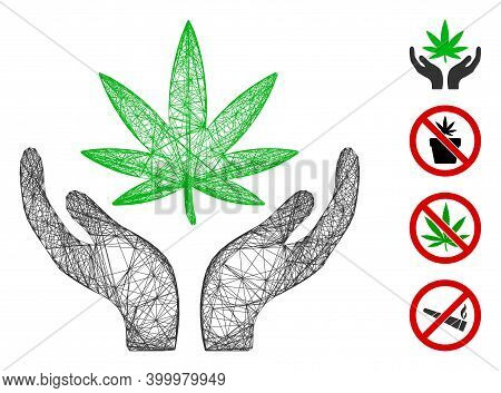 Vector Wire Frame Cannabis Care. Geometric Wire Frame Flat Net Generated With Cannabis Care Icon, De