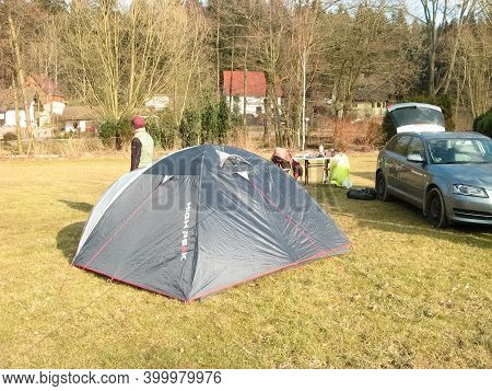 Saxon Switzerland, Germany - March 26, 2018: Camping Site In The Forest Saxon Switzerland, Saxony, G