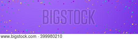 Festive Exotic Confetti. Celebration Stars. Festive Confetti On Violet Background. Amazing Festive O