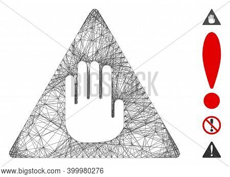 Vector Wire Frame Caution. Geometric Wire Carcass Flat Net Generated With Caution Icon, Designed Wit