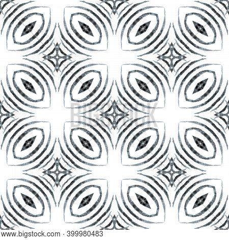 Ikat Repeating  Swimwear Design. Black And White Ecstatic Boho Chic Summer Design. Watercolor Ikat R